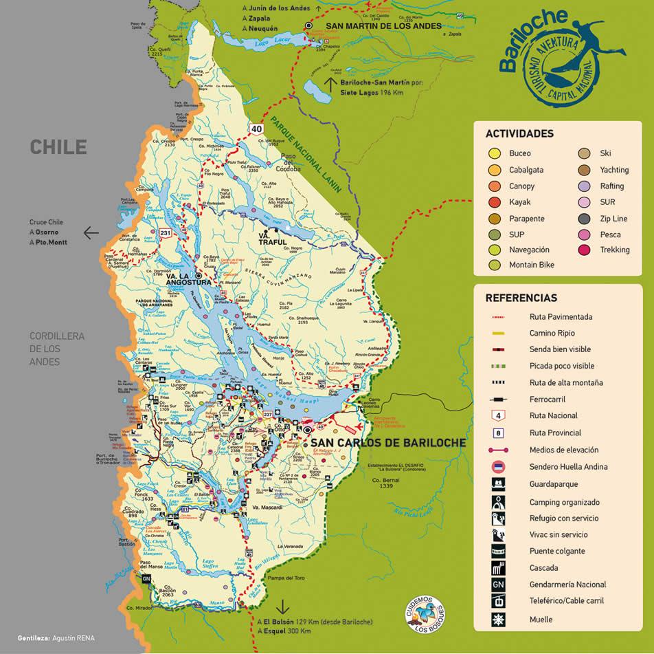 Mapas y planos de las actividades en Bariloche