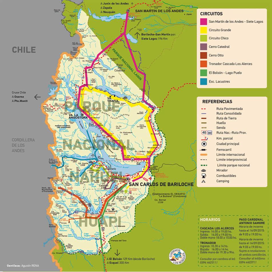 Mapas dos circuitos em Bariloche